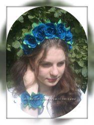 Комплект Аpplause. Ободок и браслет из синих роз. Фоамиран