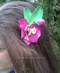 Заколка для волос Розовая орхидея
