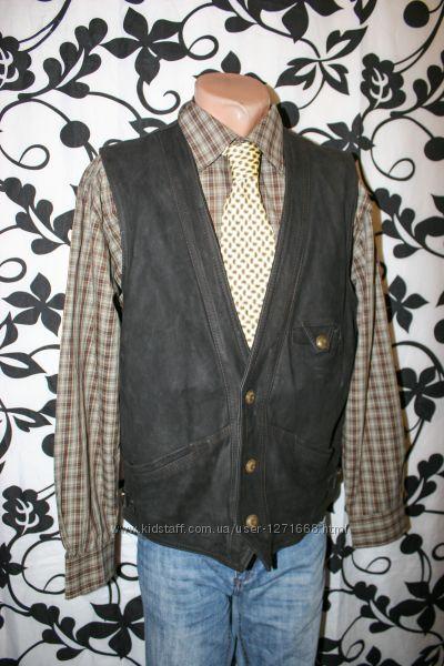 Кожаный мужской жилет, жилетка безрукавка оригинал MoviMento , Italy
