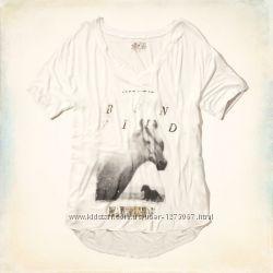 Hollister длинная футболка туника лошади лошадь кони конь туніка