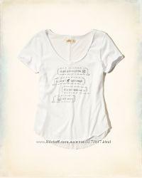 Hollister белая футболка с принтом