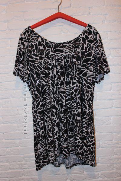 черно-белое платье-туника свободного кроя Elegant Body