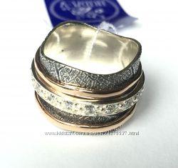 Серебряное кольцо позолота куб. цирконий Серебро 925 про