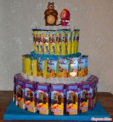 Детские торты из конфет, печенья и сока на День Рождения в садик, школу