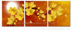 триптих картина вышитая крестом орхидеи