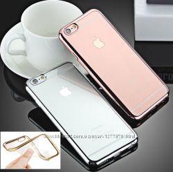 Распродажа силиконовые чехлы с зеркальным ободком айфон 6, 6s и 6, 6s plus