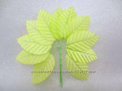 Декоративные листики из ткани на проволочке, 10 шт.