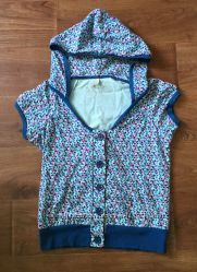 Худи футболка с капюшоном и карманами Denim Co синяя в цветок разм. 12