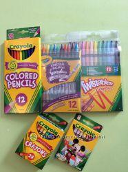 Карандаши цветные и восковые, фломастеры crayola