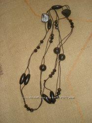 Бижутерия бусы-подвеска с изысканным  чёрным камнем.