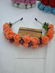 Ободок с цветами Персиковые розы Диаметр розы 25мм