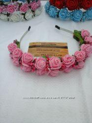 Ободок с цветами Розовые розы Диаметр розы 25мм