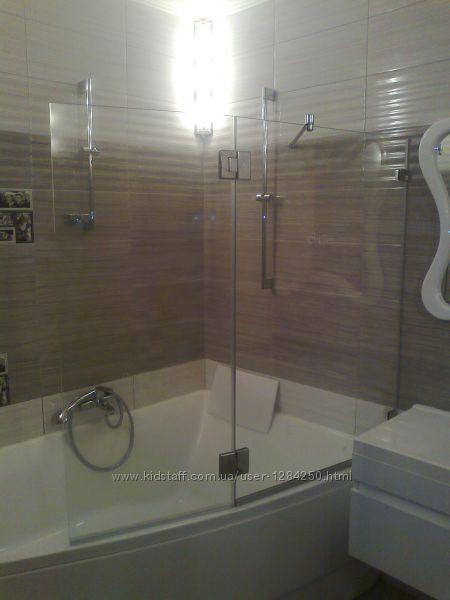 Шторки для ванной стеклянные безрамные