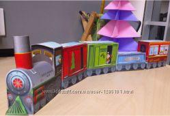 Поезд, бумажная модель-конструктор