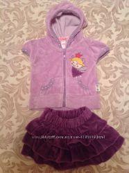 Девчачий комплект  велюровая кофточка с юбочкой на возраст 4-6 месяцев