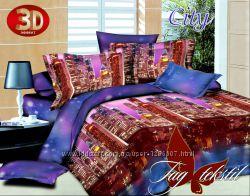 Комплекты постельного белья с 3D расцветками, хлопок