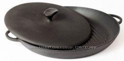 Чугунная сковорода гриль с прессом круглая 260х40 мм