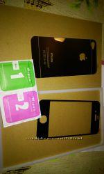 Защитная пленка Стекло iPhone 4 frontback Mirror Silver Серебро Подбор По