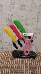 Ножи керамические с подставкой разноцветные. Новые