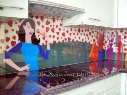 Стеклянный фартук  на кухнюскинали