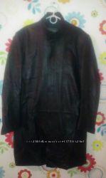 Кожаный мужской френч, плащ, полу пальто на молнии
