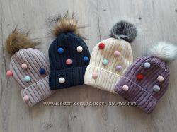 Вязаная, теплая, полушерстяная яркая шапка с помпоном для малышки, на флис
