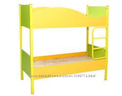 Кровать детская 2-ярусная на металлическом каркасе