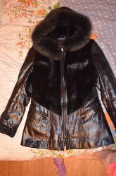 Очень красивая куртка кожаная с натуральным мехом