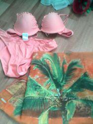 купальнік з парео 46 розмір персиковий колір
