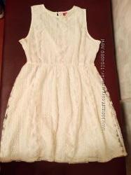 Платье 16 44 размер 48-50 белое летнее