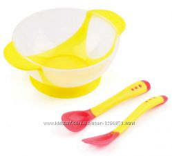 Тарелка на присоске  ложка и вилка Niuniu Daddy разные цвета 401-150