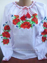 Вышиванка для девочек Маки с васильками , рост 128-170