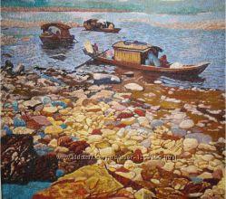 Картина вышитая шелком Лодки