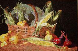Картина вышитая шелком Овощи