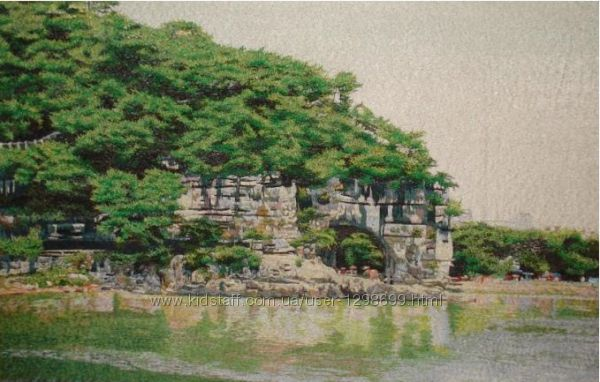 Продам картину вышитую шелком Скала, 50х80 см