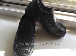 Кожаные закрытые детские туфли с перфорацией длина 16, 3 смширин