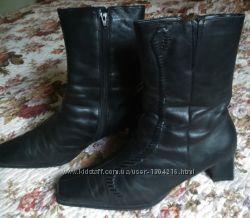 Распродажа Полусапожки GABOR черные натуральная кожа и мех размер 6. 5