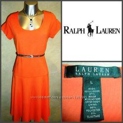 Стильное трикотажное оранжевое удобное платье миди ralf lauren m-l