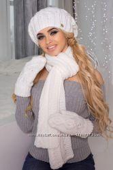 Комплект Милана берет, шарф и варежки