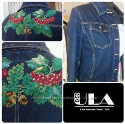 джинсовая куртка с вышивкой бисером, вышиванка
