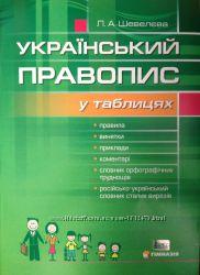 Український правопис у таблицях. Шевелєва