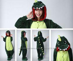 Кигуруми-или маскарадный костюм, пижама Динозавр зелёный и розовый, Дракон
