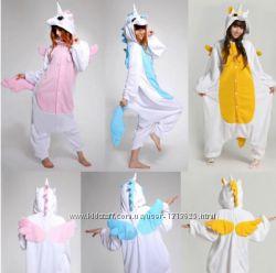 Кигуруми-или маскарадный костюм, пижама Единорог розовый, голубой, бирюзовый