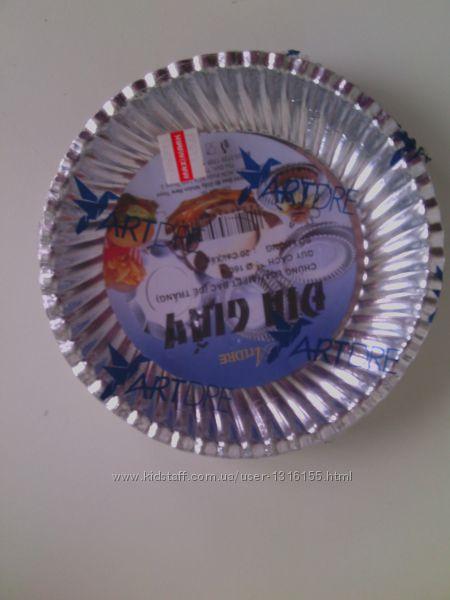 Набор одноразовой бумажной посуды цвет серебряный