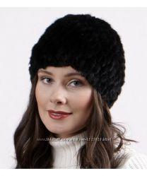 Женская вязанная норковая шапка. Натуральная норка. Шапка из норки