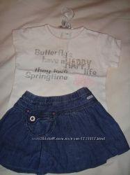 PRENATAL. Юбочка джинсовая на малышку и кофточки. 1-3. годика.