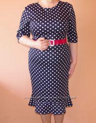 Платье Exclusive новое красивое черного цвета в белый горошек 52 размер