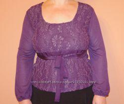Блузка новая гипюровая фиолетового цвета с длинными рукавами 54 размер