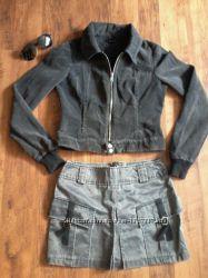 Короткая вельветовая темно-серая куртка vero moda