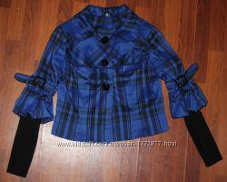 Красивый короткий синий плащ-пиджак 46 р.